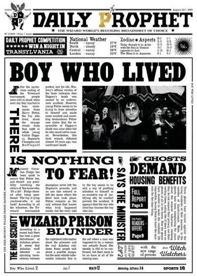 Pergament - Harry Potter - Daily Prophet - Boy who lived