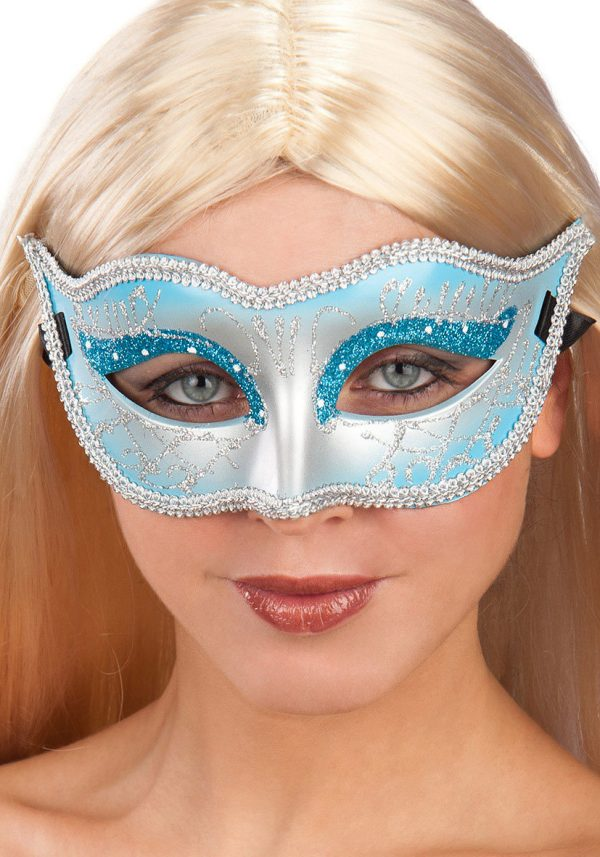 Ansiktsmask - Mask in blue hard PVC with glitter