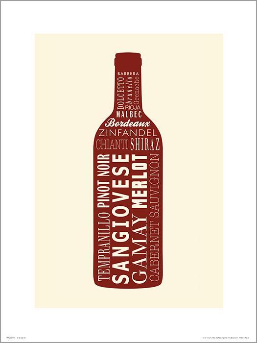 Exklusivt Art Print - Wine bottle Red - Rött vin, flaska