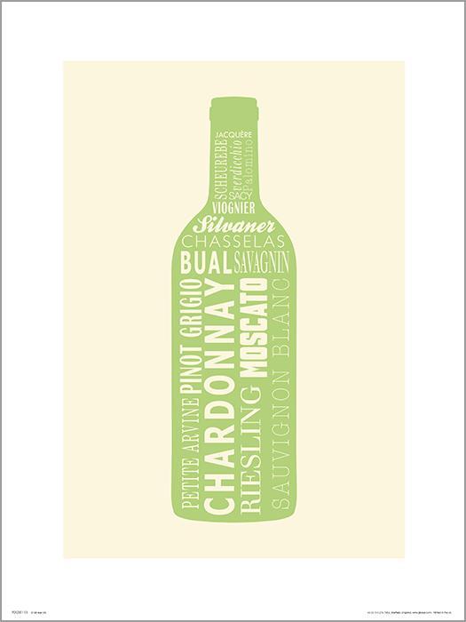 Exklusivt Art Print - Wine bottle White -Vitt vin, flaska
