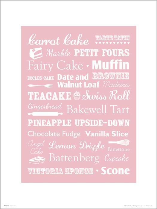 Exklusivt Art Print - Cakes - Tårtor och bakverk - Text