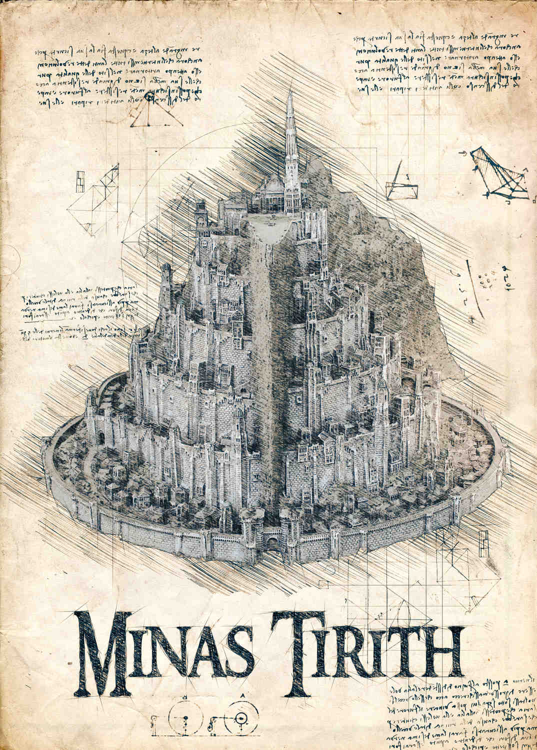 A3 Print - Lord of the rings - Minas Tirith