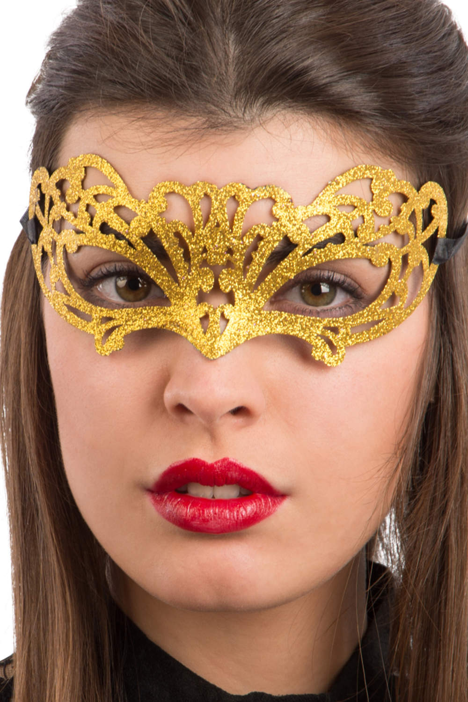 Ansiktsmask - Gold glitter mask