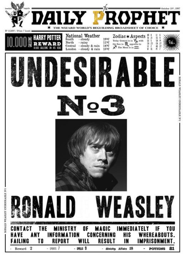 A3 Print - Harry Potter - Daily Prophet - Donald Weasley No 3