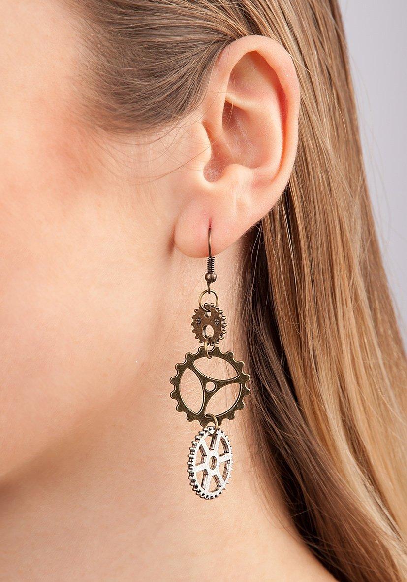 Steampunk Earrings With Gearwheel