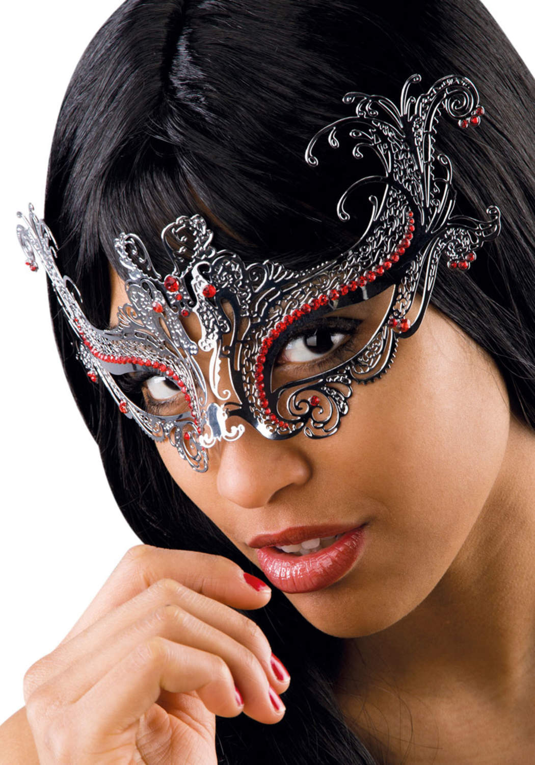 Ansiktsmask -Silver metal mask with red strass