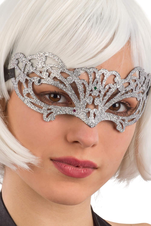 Ansiktsmask - Silver glitter mask