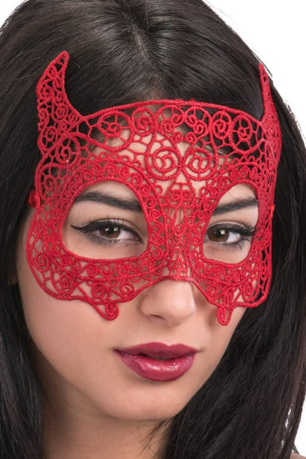 Ansiktsmask - Devil mask in red Fabric Macrame
