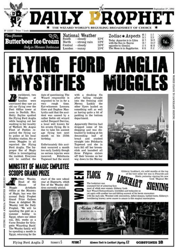A3 Print - Harry Potter - Daily Prophet - Flying Ford Anglia