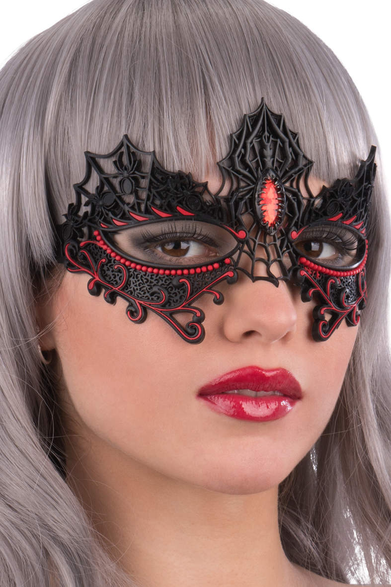 Ansiktsmask - Black/red spiders chinless mask