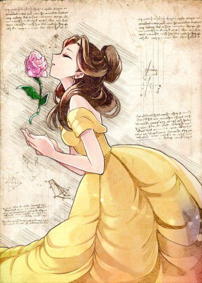 Pergament - Disney - Beauty and the beast - Belle rose