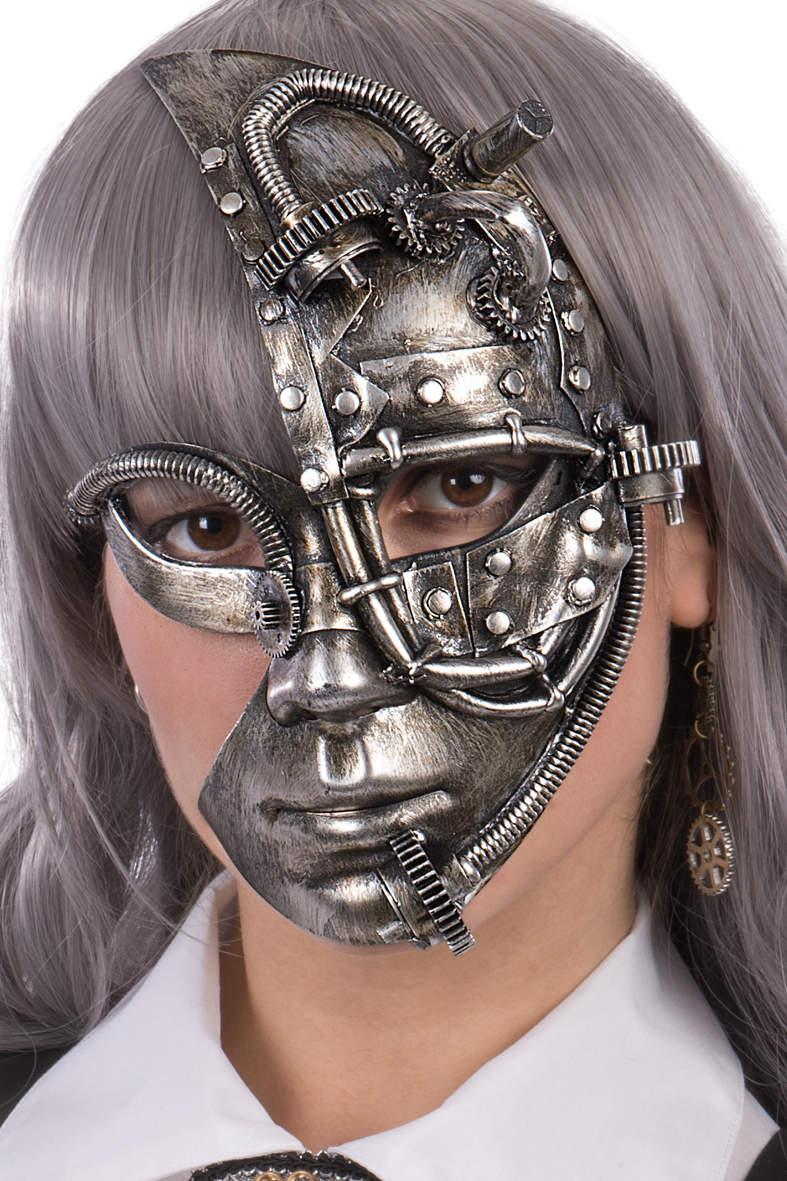 Ansiktsmask - Steampunk silver mask