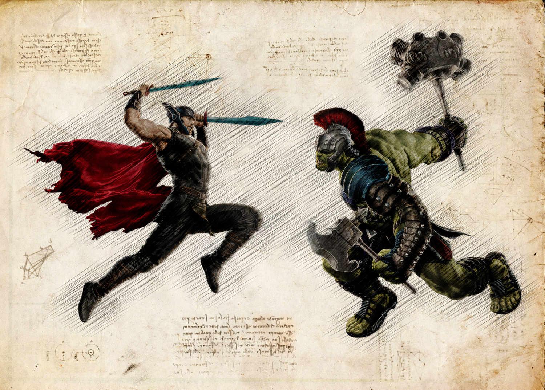 A3 Print - Thor and Hulk - Battle