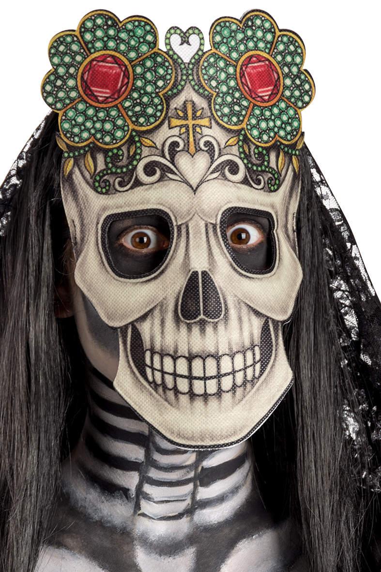 Ansiktsmask - Skull mask with flowers