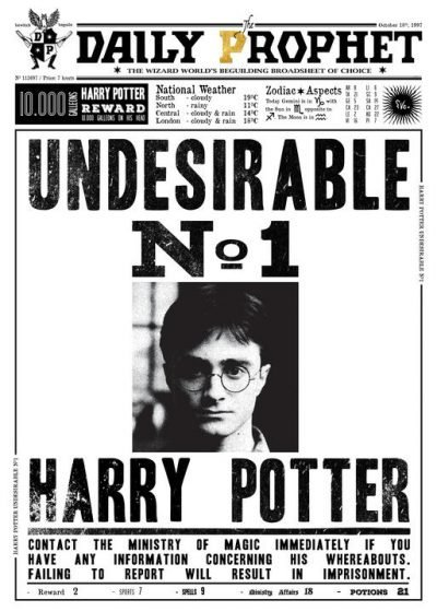 A3 Print - Harry Potter - Daily Prophet - Undesirable No 1