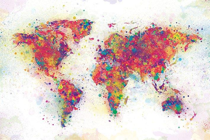 World Map - Colour Splash - Världskarta