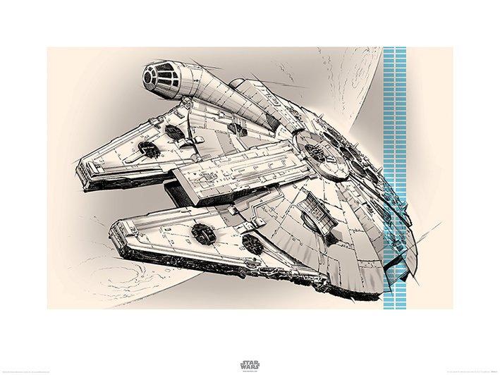 Star Wars Episode VII (Millennium Falcon Pencil Art)