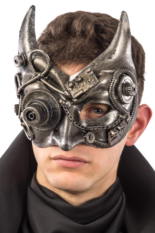 Ansiktsmask - Steampunk silver devil mask