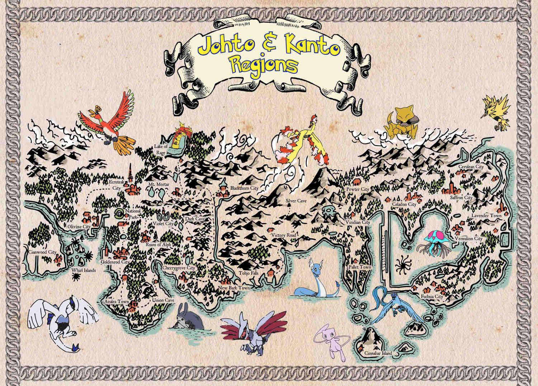 Pergament - Pokemon - Johto & Kanto Regions