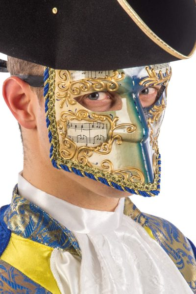 Ansiktsmask - White, gold and blue Venetian bautta mask