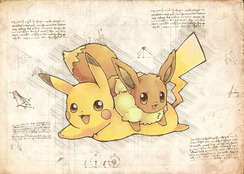 Pergament - Pokemon - Evee och Pikachu