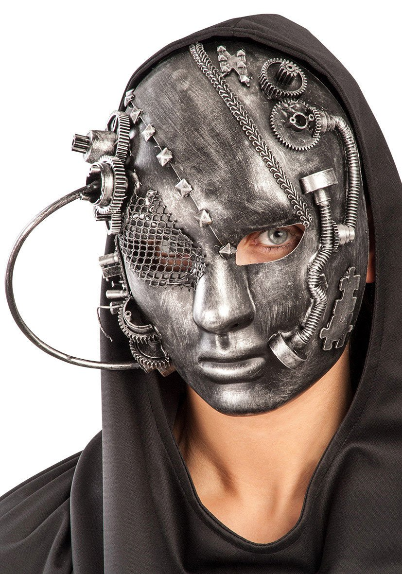 Ansiktsmask - Steampunk Future Full Face Grey Mask