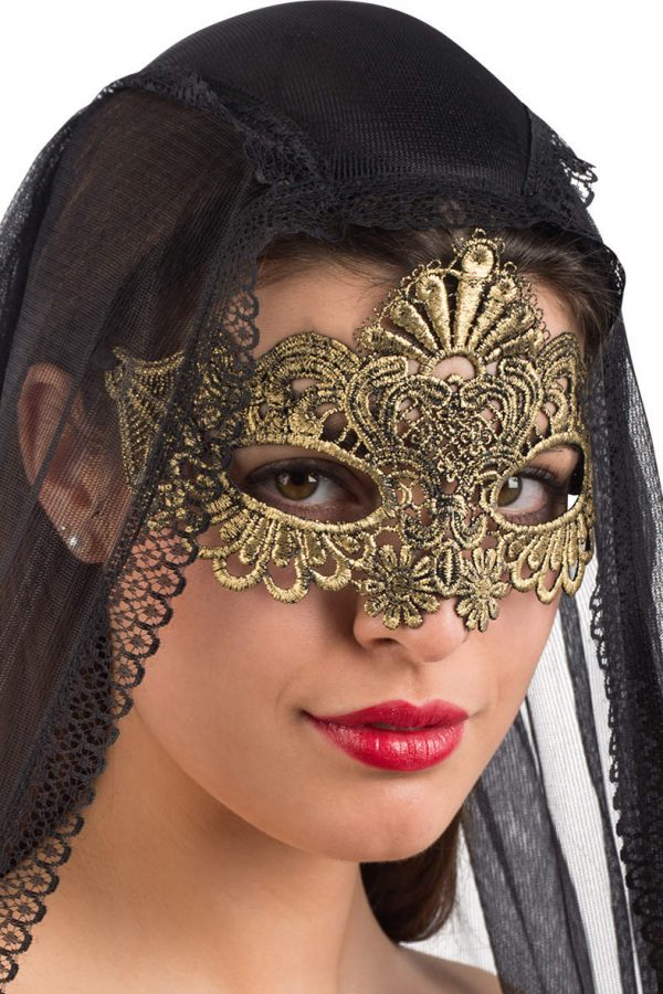 Ansiktsmask - Mask in gold Fabric Macrame