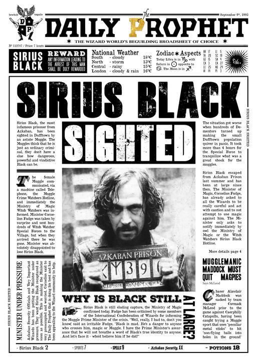 A3 Print - Harry Potter - Daily Prophet - Sirius Black