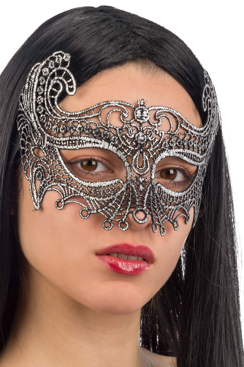 Ansiktsmask - Mask in silver Fabric Macrame