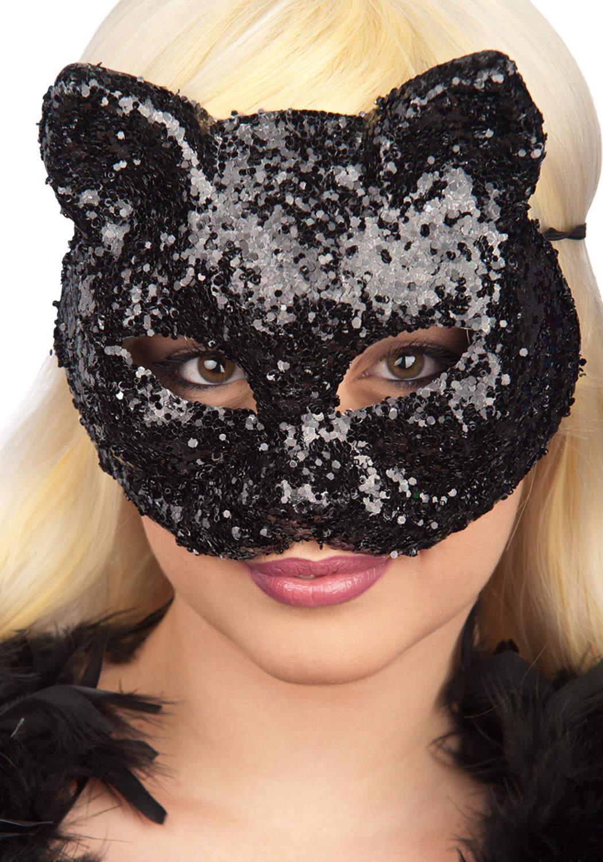 Ansiktsmask - Black cat glitter mask