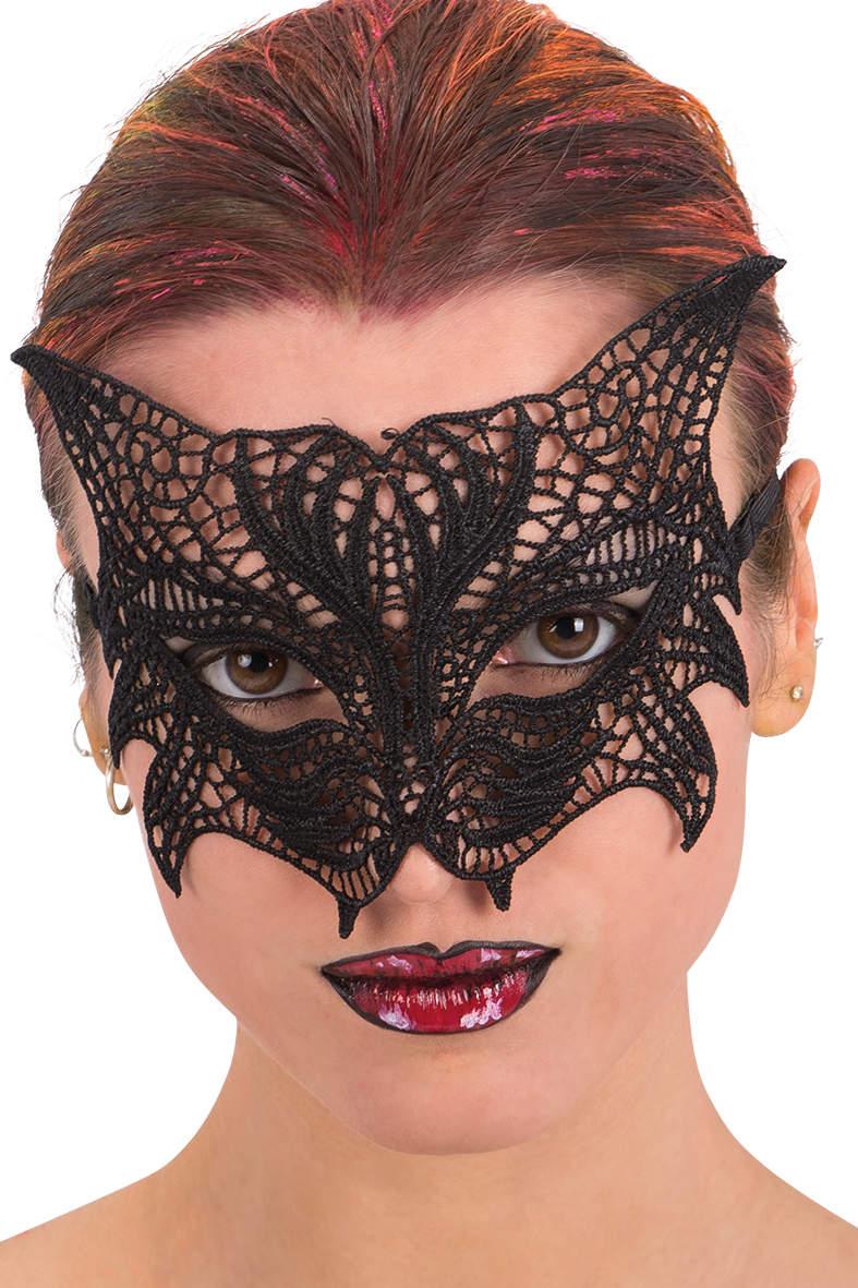 Ansiktsmask -Cat mask in black Fabric Macrame