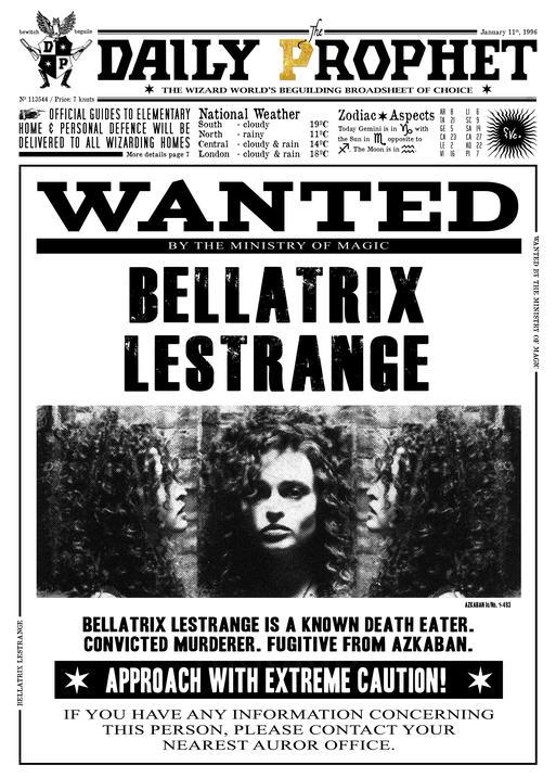 A3 Print - Harry Potter - Daily Prophet - Wanted Bellatrix Lestrange