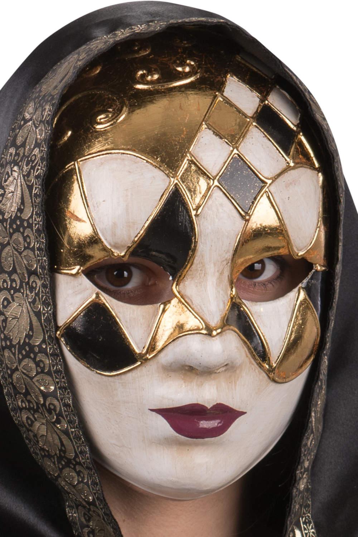Ansiktsmask - White, gold and black Venetian mask