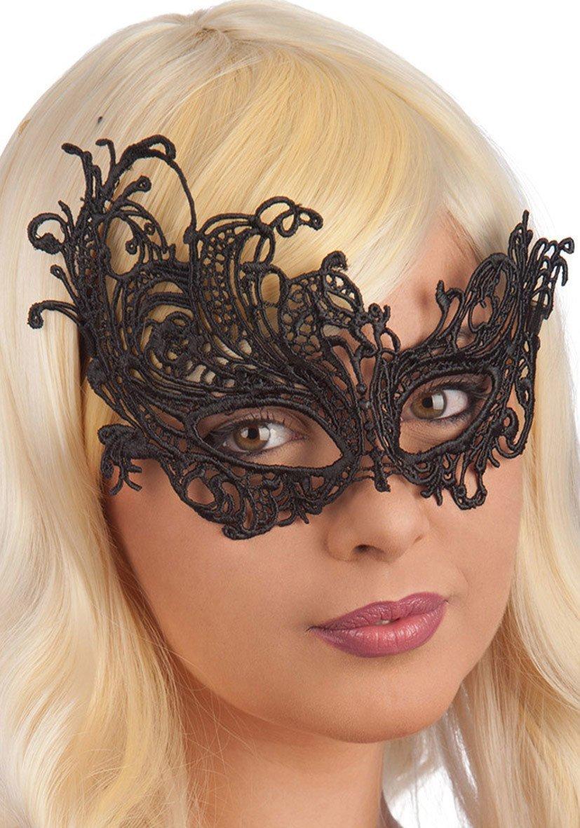 Ansiktsmask - Mask in black Fabric Macrame