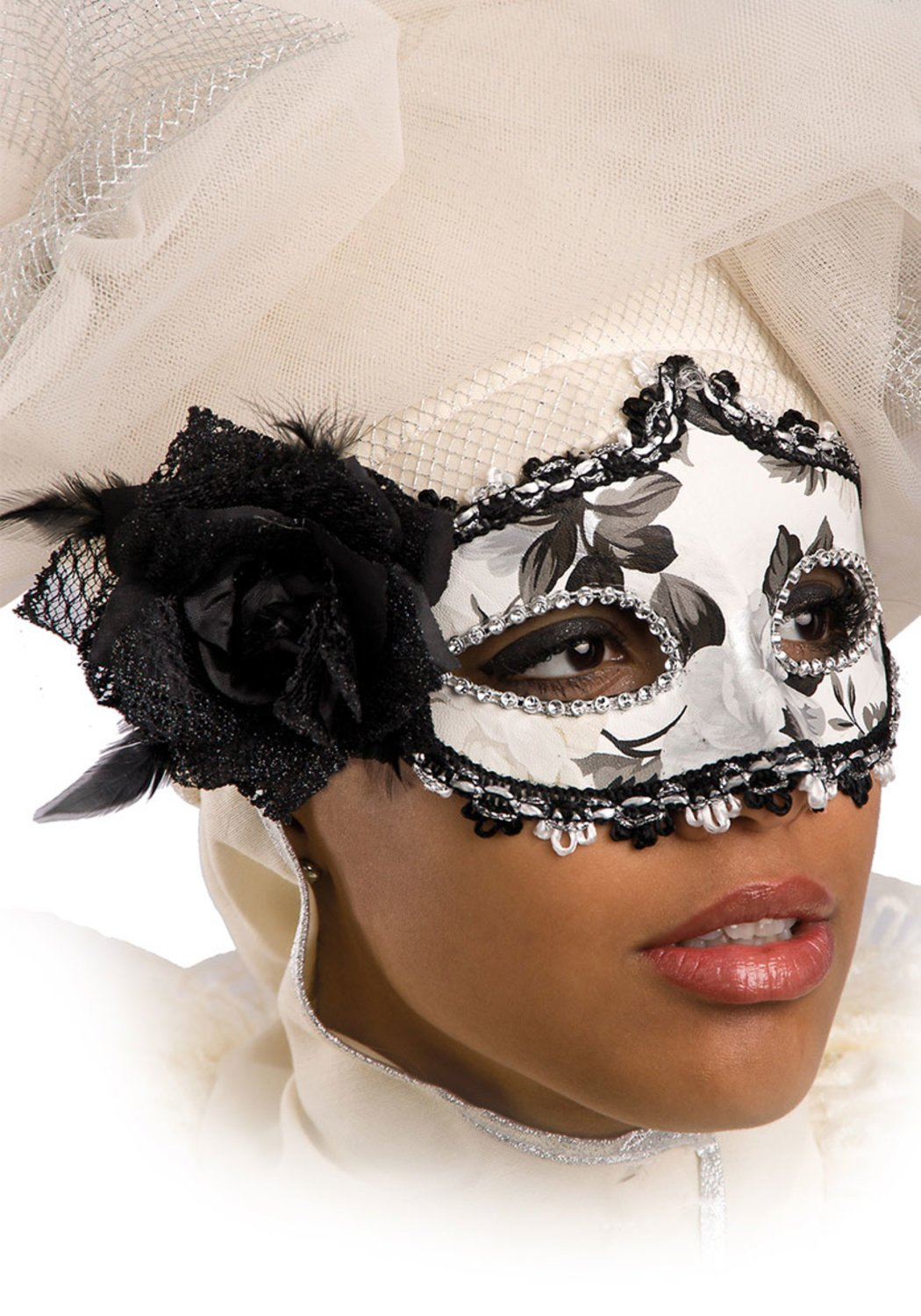 Ansiktsmask - Black and white mask with rose and feathers