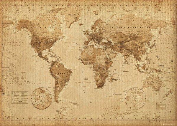 Världskarta Antik stil - World Map - Mycket snygg retro