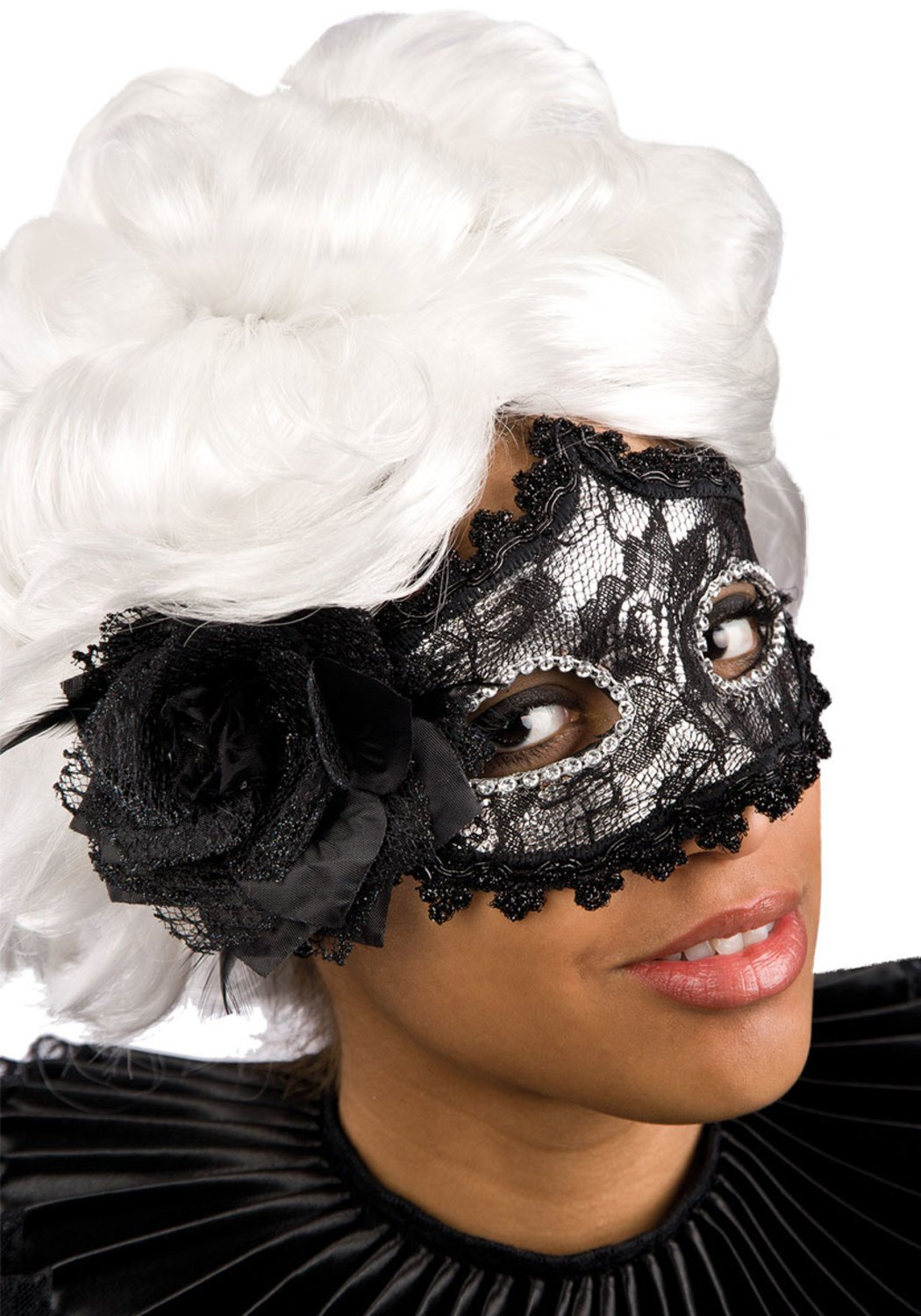Ansiktsmask - Black lace and feathers mask