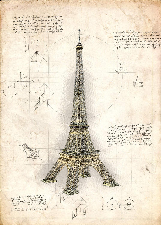 A3 Print - Eiffeltornet - Eiffel Tower Paris