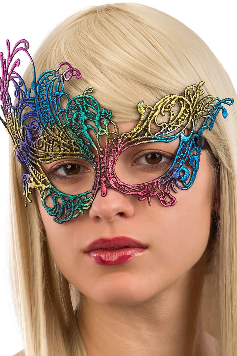 Ansiktsmask - Multicolored mask in Fabric Macrame Rainbow