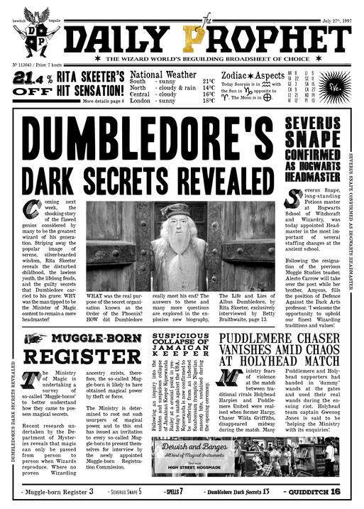 A3 Print - Harry Potter - Daily Prophet - Dumbledore´s Dark Secret
