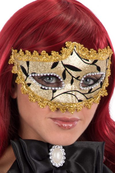 Ansiktsmask - Mask with golden glitter and trimmings