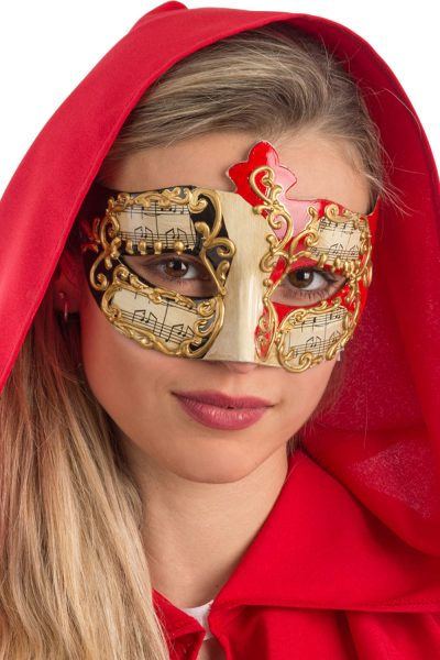 Ansiktsmask - White, red and black Venetian mask with gold decoration