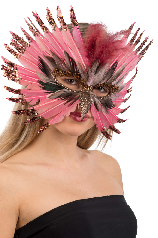 Ansiktsmask - Pink precious feathers mask with beak and glitter