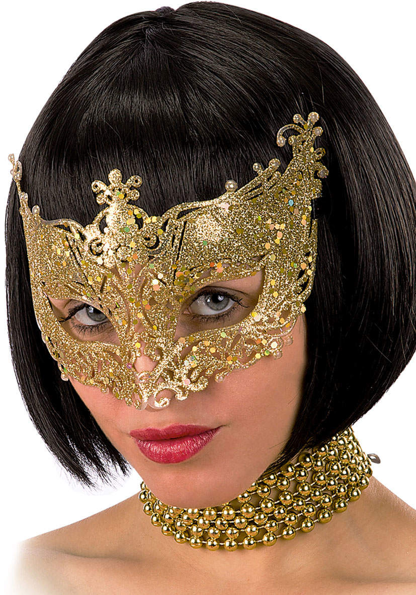 Ansiktsmask - Mask in gold with glitter