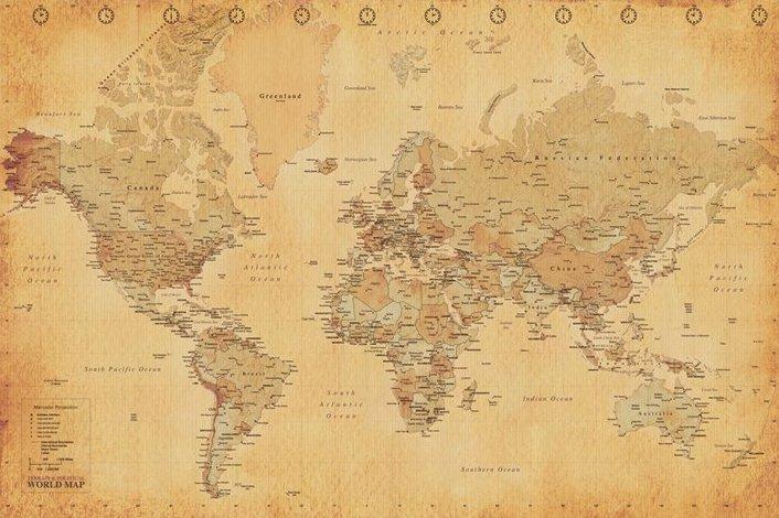 Världskarta - Antik stil (World Map)