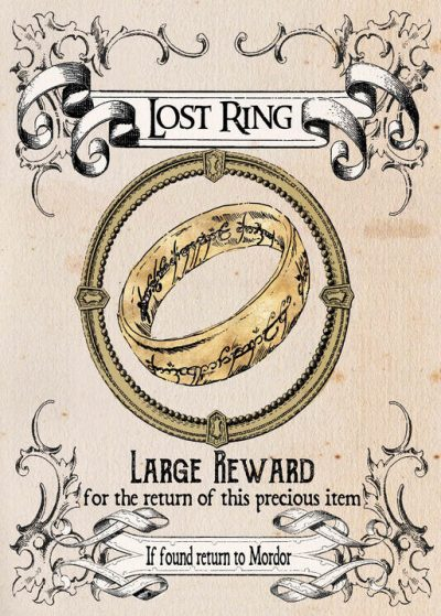 Pergament - Lord of the rings - Lost Ring, Large Reward