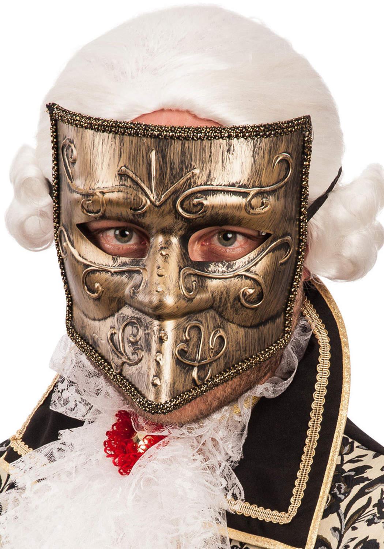 Ansiktsmask - Venetian golden bautta mask