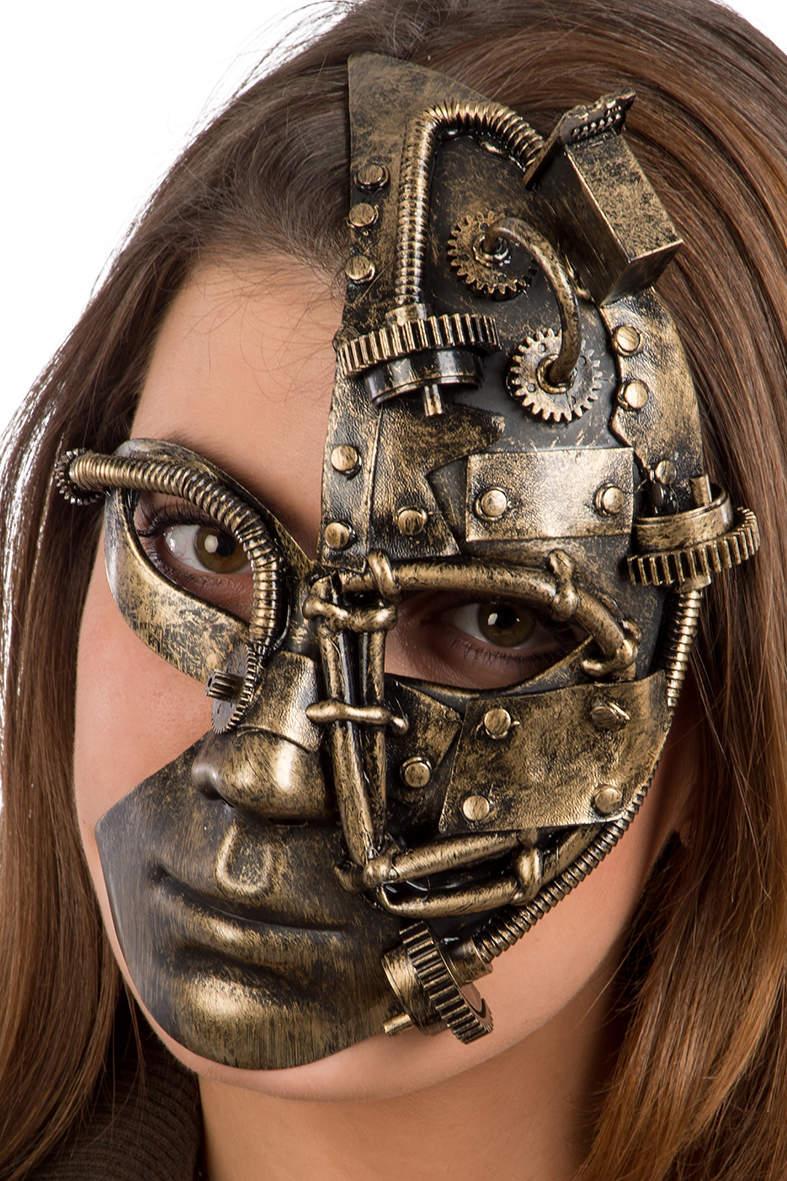 Ansiktsmask - Steampunk gold mask