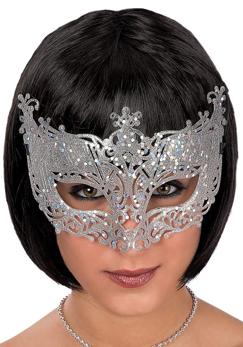 Ansiktsmask - Mask in silver with glitter