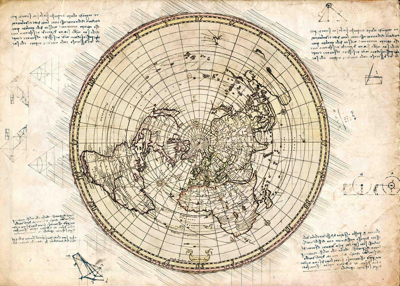 A3 Print - Map - Flat earth - Karta